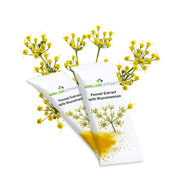 Fennel extract with glucomannan stick packs